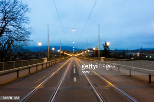 Evening Road on the Bridge in Bern, Switzerland - BLUR : Stock Photo
