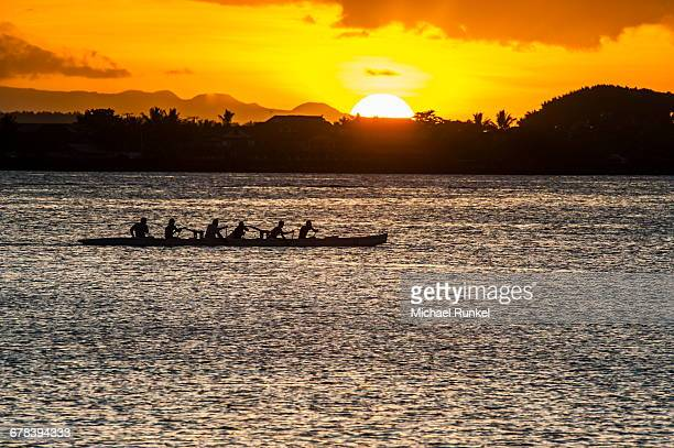 Evening rowing in the bay of Apia, Upolu, Samoa, South Pacific, Pacific