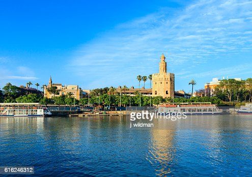Evening Seville city view (Spain). : Stock Photo