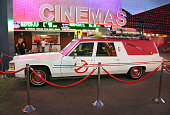 Evening side view of the 'Ghostbusters' Cadillac Fleetwood Station Wagon at AMC Universal City Walk on July 14 2016 in Universal City California