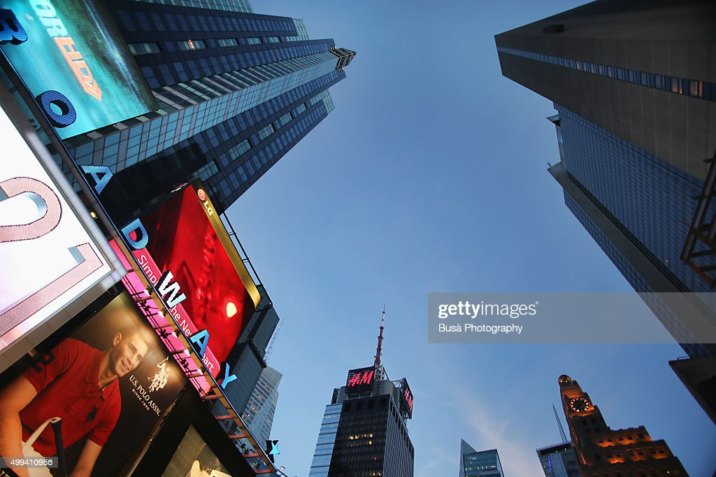 Evening sky between office towers in Times Square, Midtown Manhattan, New York City