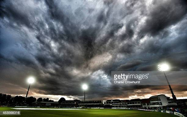 Evening sky over The Spitfire Ground St Lawrence as play is stopped for a rain break during Royal London OneDay Cup match between Kent Spitfires and...