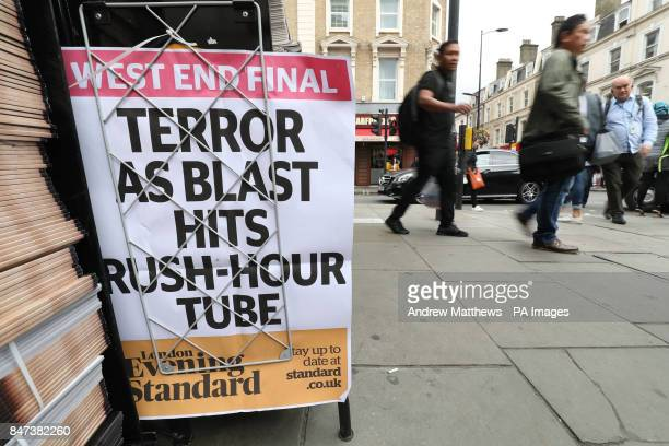 Evening Standard newspapers on display outside Paddington tube station London after a terrorist incident was declared following a blast which sent a...