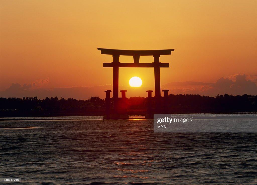 Evening Sun and Torii Gate at Lake Hamana, Hamamatsu, Shizuoka, Japan