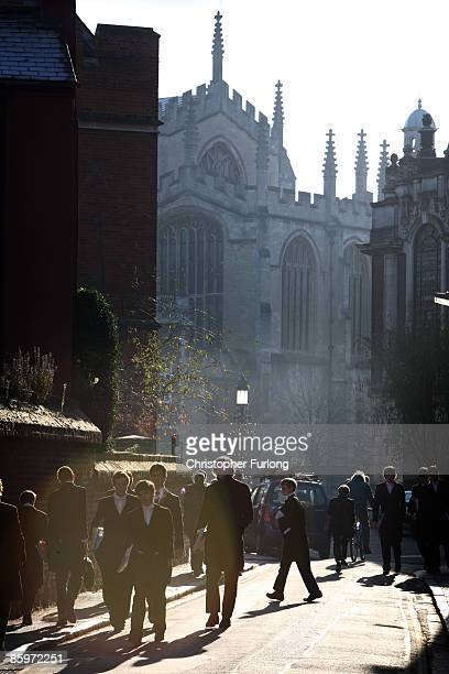 Evening sun casts shadows over the façade of Eton College as boys make their way back to their houses on November 15 2007 in Eton England An icon...