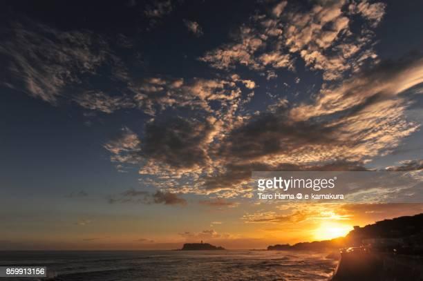 Evening sun on Mt. Fuji, Enoshima Island and the beach in Kamakura city in Kanagawa prefecture in Japan