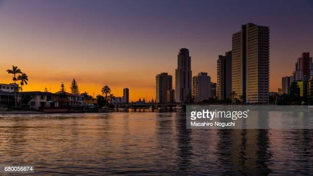 Evening Surfers Paradise skyline in the city of Gold Coast, Australia
