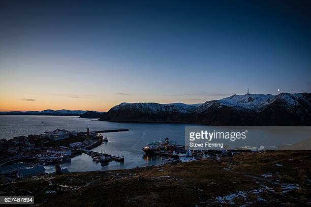 Evening twilight at Honningsvag, Northern Norway.