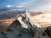 Evening view of Ama Dablam on the way to Everest Base Camp, Sagarmatha national park, Khumbu valley, Nepal