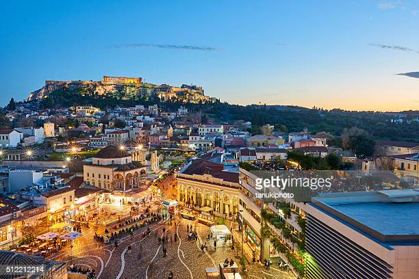 Vue de soirée à Athènes