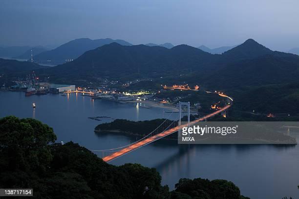 Evening View of Hakata-Oshima Bridge, Imabari, Ehime, Japan