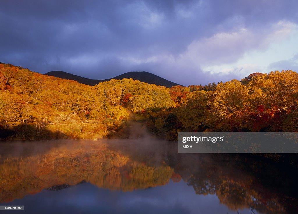 Evening View of Hakkoda Mountains and Jigoku Pond, Aomori, Aomori, Japan
