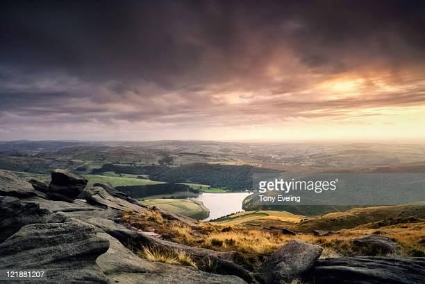 Evening view of Peak district, Derbyshire, UK