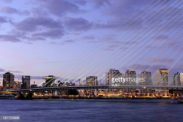 Evening view of Rotterdam skyline with Erasmus Bridge