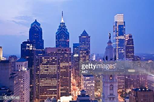 Evening view of the Philadelphia cityscape