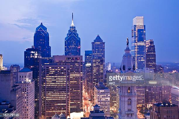 Evening view of the Philadelphia cityscape