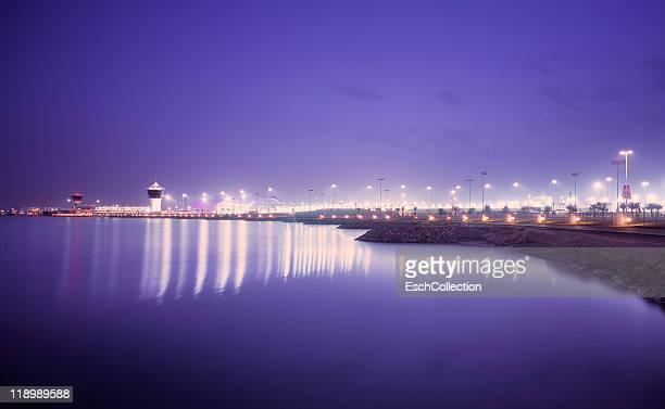 Evening view of Yas Island in Abu Dhabi, UAE.