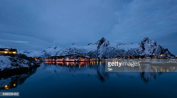 Evening view over Svolvaer in the Lofoten in Norway