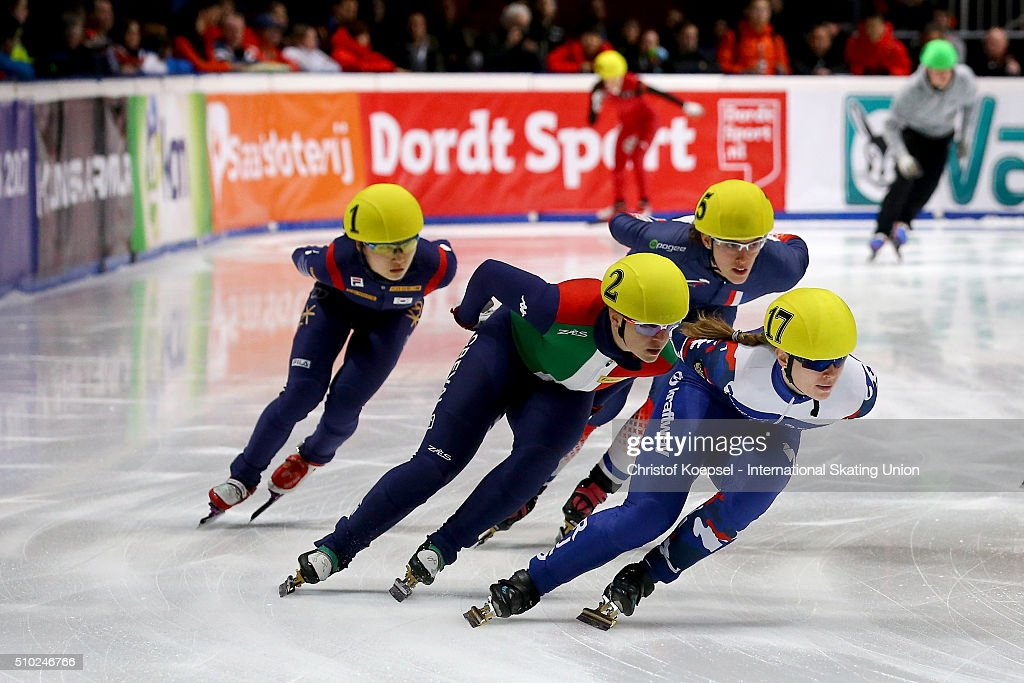 Eveniya Zakharova of Russia skates during the ladies 3000m relay final during Day 3 of ISU Short Track World Cup at Sportboulevard on February 14, 2016 in Dordrecht, Netherlands.