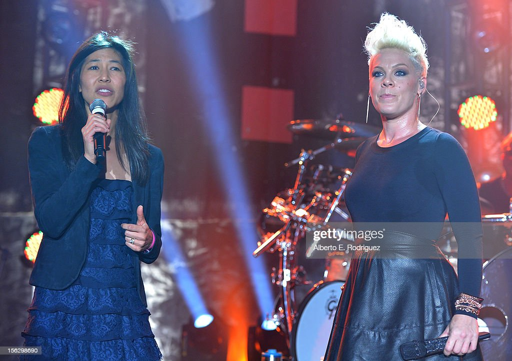 Event Chair Dr. Maggie DiNome (L) and singer Pink speak onstage at the St. John's Health Center's Power Of Pink benefiting The Margie Petersen Breast Center at Sony Studios on November 12, 2012 in Los Angeles, California.
