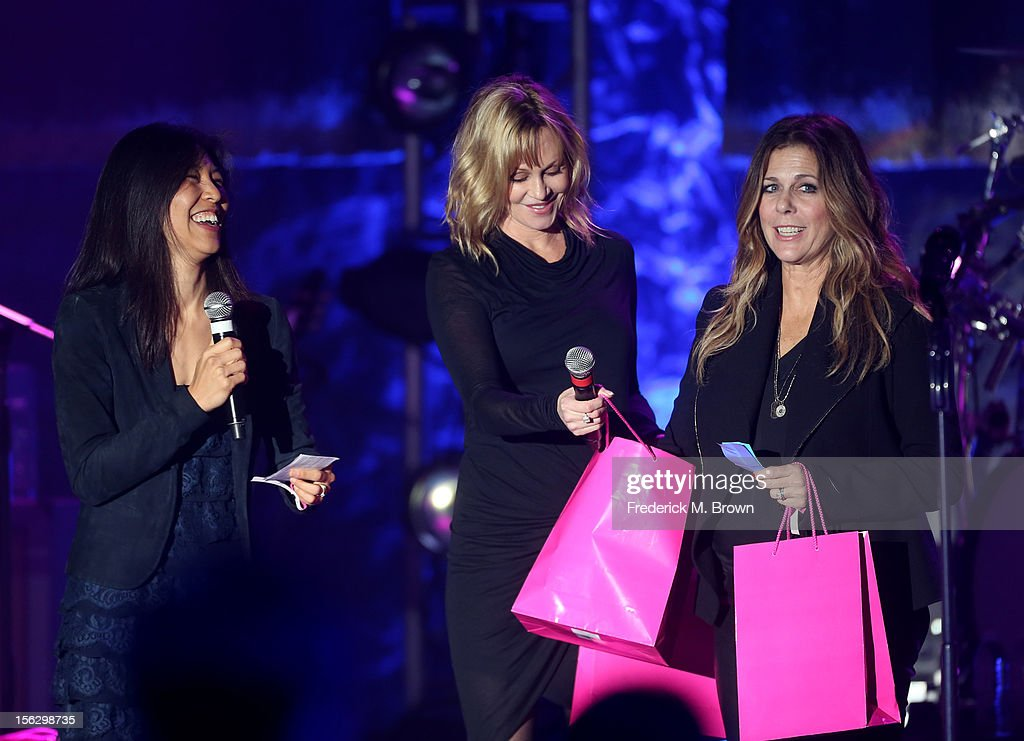 Event Chair Dr. Maggie DiNome with actresses Melanie Griffith and Rita Wilson speak onstage at the St. John's Health Center's Power Of Pink benefiting The Margie Petersen Breast Center at Sony Studios on November 12, 2012 in Los Angeles, California.