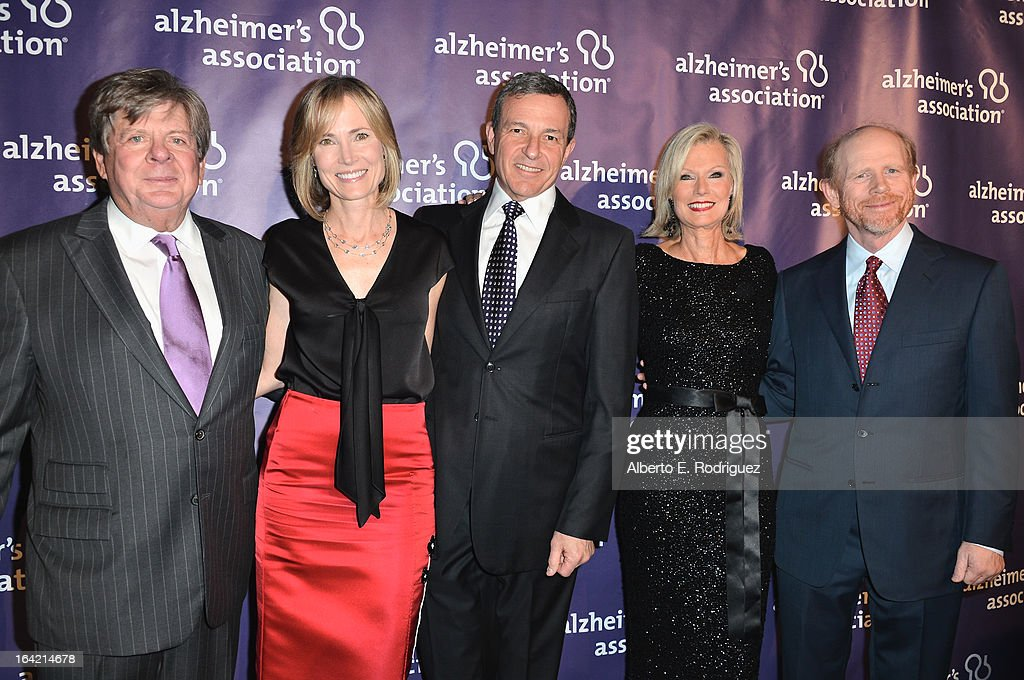 Event Chairman Peter Grad, Willow Bay, Chairman and CEO of the Walt Disney Company Bob Iger, Founder and Event Chairwoman Laurie Burrows Grad and honoree Ron Howard arrive of The Walt Disney Compan arrives at 21st Annual 'A Night At Sardi's' gala benefiting the Alzheimer's Association - Arrivals at The Beverly Hilton Hotel on March 20, 2013 in Beverly Hills, California.