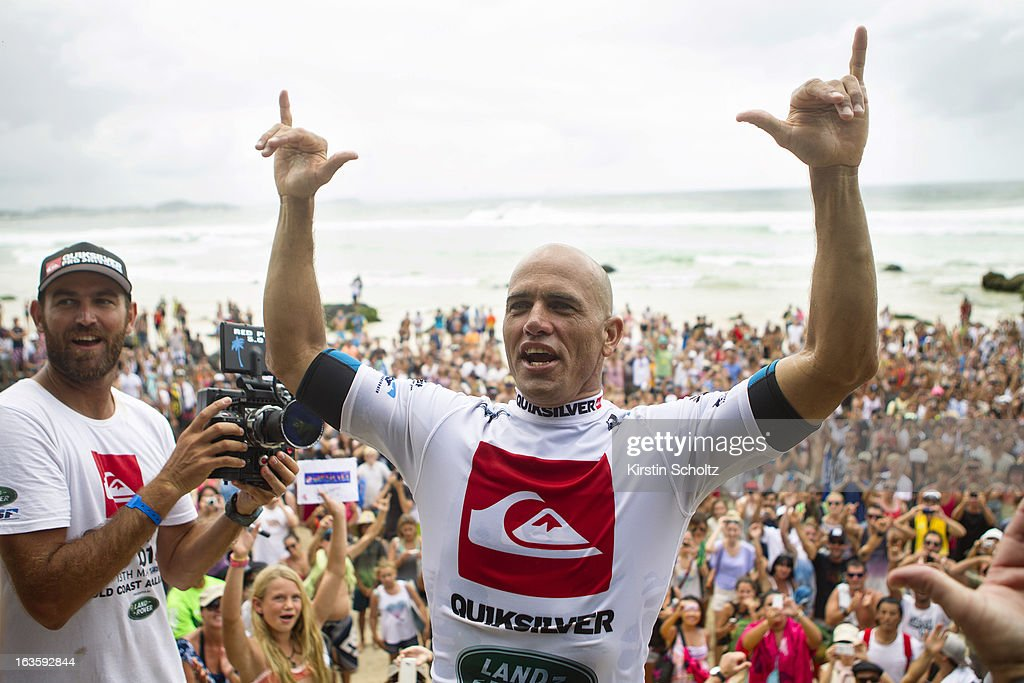 Event champion <a gi-track='captionPersonalityLinkClicked' href=/galleries/search?phrase=Kelly+Slater&family=editorial&specificpeople=207101 ng-click='$event.stopPropagation()'>Kelly Slater</a> of the United States of America wins the Quiksilver Pro during the Quiksilver Pro on March 13, 2013 in Gold Coast, Australia.