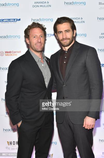 Event cochair Marine veteran Founder of Headstrong Zach Iscol and Actor Jake Gyllenhaal attend the Headstrong Gala 2017 at Pier 60 Chelsea Piers on...