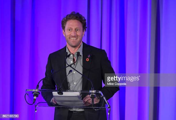 Event cochair Marine veteran Founder of Headstrong Zach Iscol speaks at the Headstrong Gala 2017 at Pier 60 Chelsea Piers on October 16 2017 in New...