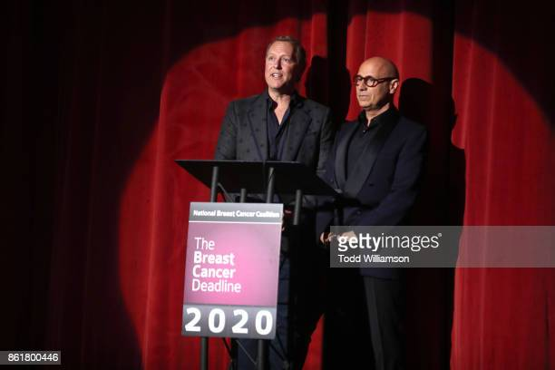 Event CoChairs Alec Call and Gerry Bernardi speak onstage at National Breast Cancer Coalition Fund's 17th Annual Les Girls Cabaret at Avalon...