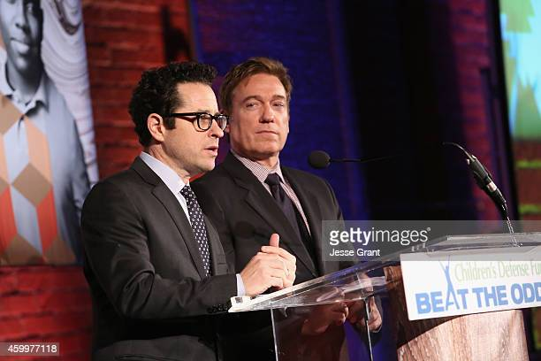Event CoChairs JJ Abrams and Kevin Huvane speak onstage during Children's Defense Fund California Hosts 24th Annual Beat The Odds Awards at Book...