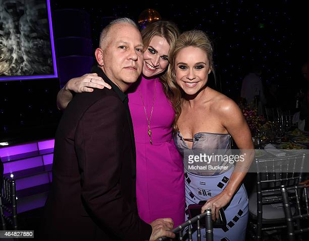 Event CoChair/screenwriter Ryan Murphy and actress Becca Tobin attend the Family Equality Council's 2015 Los Angeles Awards dinner at The Beverly...