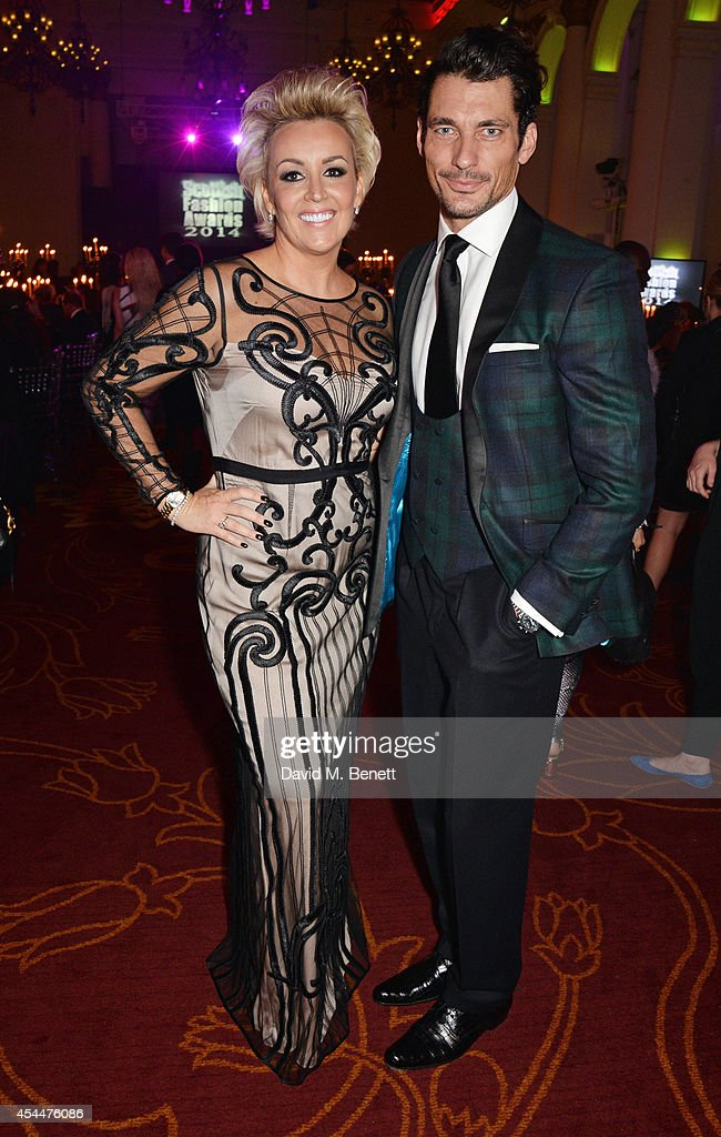 Event founder Tessa Hartmann (L) and <a gi-track='captionPersonalityLinkClicked' href=/galleries/search?phrase=David+Gandy&family=editorial&specificpeople=4377663 ng-click='$event.stopPropagation()'>David Gandy</a> arrive at the Scottish fashion invasion of London at the 9th annual Scottish Fashion Awards at 8 Northumberland Avenue on September 1, 2014 in London, England.