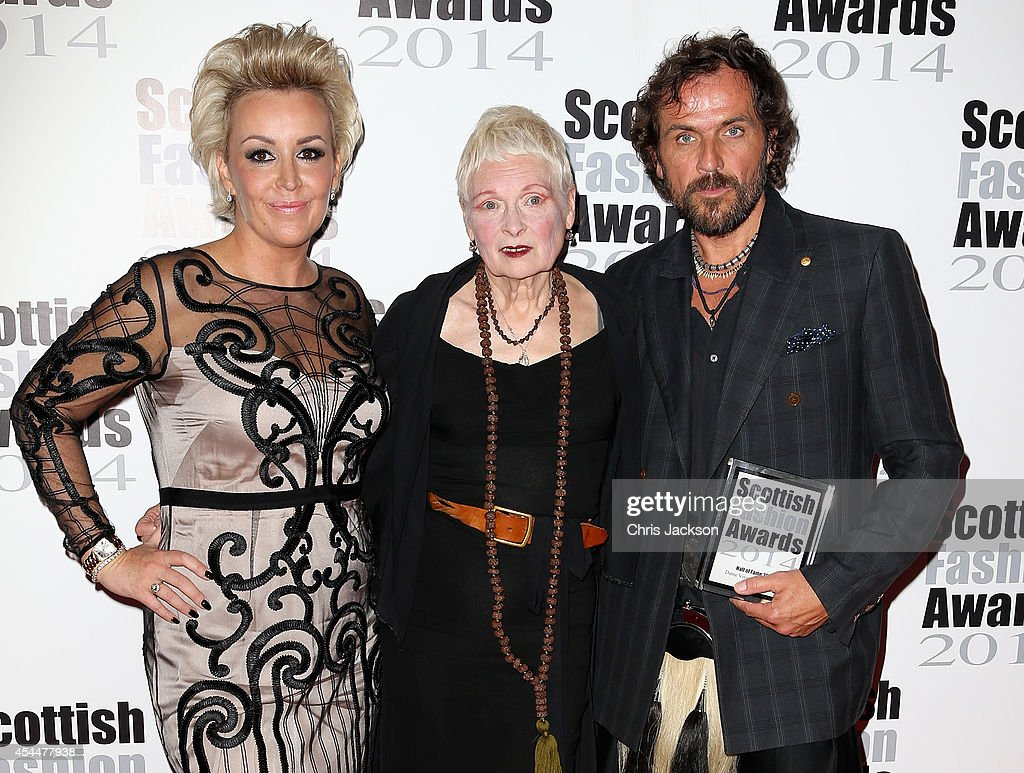 Event founder Tessa Hartmann poses with Hall of Fame Award winner Designer Dame Vivienne Westwood and Andreas Kronthaler attends The Scottish Fashion...