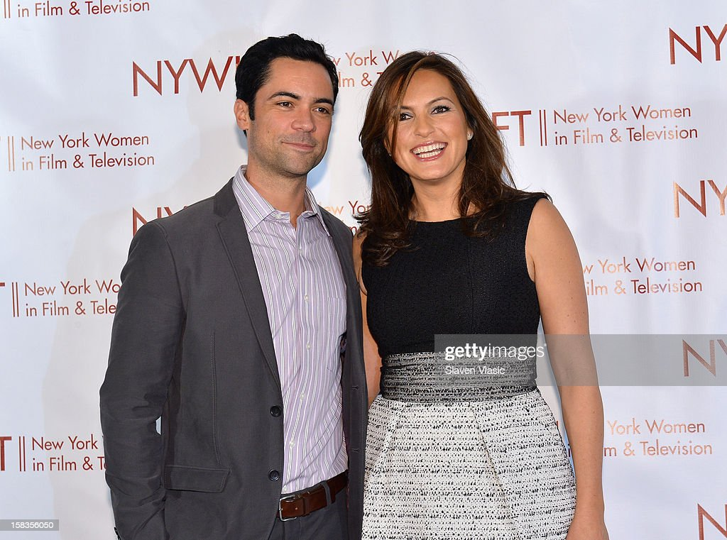 Event honoree, actress <a gi-track='captionPersonalityLinkClicked' href=/galleries/search?phrase=Mariska+Hargitay&family=editorial&specificpeople=204727 ng-click='$event.stopPropagation()'>Mariska Hargitay</a> (R) and actor <a gi-track='captionPersonalityLinkClicked' href=/galleries/search?phrase=Danny+Pino&family=editorial&specificpeople=240258 ng-click='$event.stopPropagation()'>Danny Pino</a> attend 2012 New York Women In Film And Television Muse Awards at Grand Ballroom, New York Hilton on December 13, 2012 in New York City.