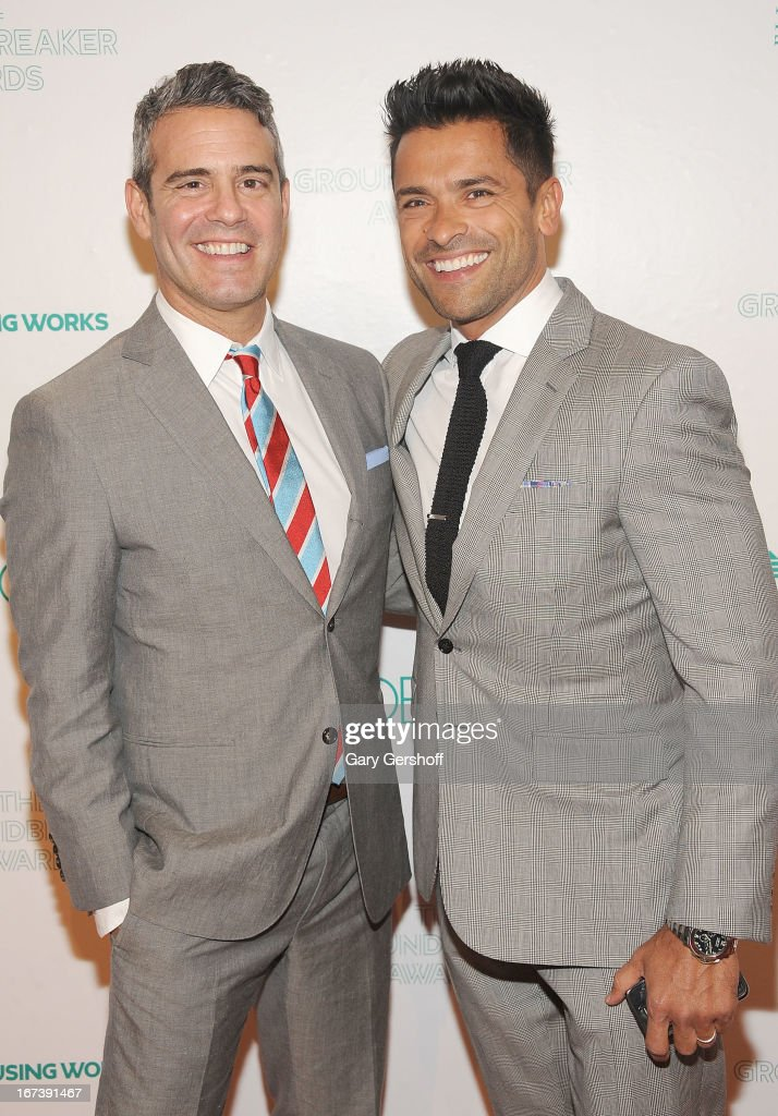 Event honoree Andy Cohen (L) and actor <a gi-track='captionPersonalityLinkClicked' href=/galleries/search?phrase=Mark+Consuelos&family=editorial&specificpeople=234398 ng-click='$event.stopPropagation()'>Mark Consuelos</a> attend Housing Works Groundbreaker Awards at Metropolitan Pavilion on April 24, 2013 in New York City.