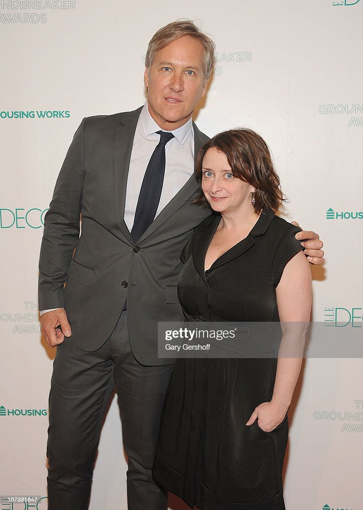 Event honoree James Huniford (L) and event host <a gi-track='captionPersonalityLinkClicked' href=/galleries/search?phrase=Rachel+Dratch&family=editorial&specificpeople=209387 ng-click='$event.stopPropagation()'>Rachel Dratch</a> attend Housing Works Groundbreaker Awards at Metropolitan Pavilion on April 24, 2013 in New York City.