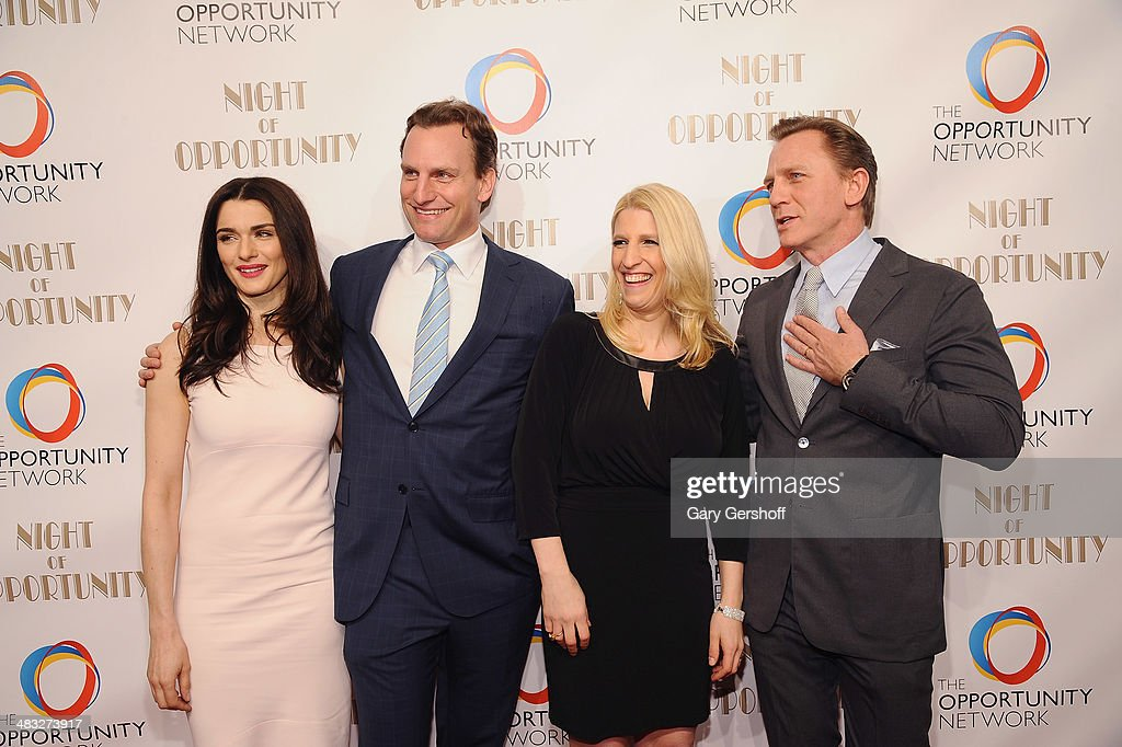 Event honoree <a gi-track='captionPersonalityLinkClicked' href=/galleries/search?phrase=Rachel+Weisz&family=editorial&specificpeople=204656 ng-click='$event.stopPropagation()'>Rachel Weisz</a>, Board Chair Jason Wright, Opportunity Network Founder/Executive Director Jessica Pliska and event honoree Danile Craig attend the 7th annual Night of Opportunity Gala at Cipriani Wall Street on April 7, 2014 in New York City.