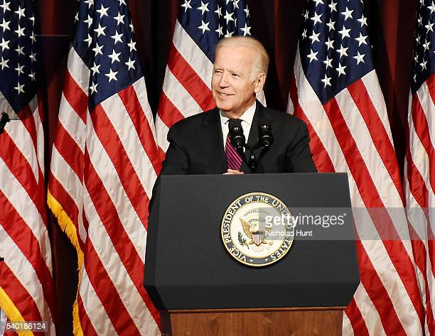 Event honoree Vice President of the United States Joe Biden speaks on stage during the 75th Annual Father Of The Year Awards Luncheon at New York...