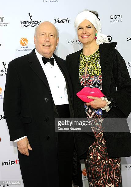 Event honoree writer and creator 'Downton Abbey' Julian Fellowes and Emma Joy Kitchener attend the 43rd International Emmy Awards on November 23 2015...