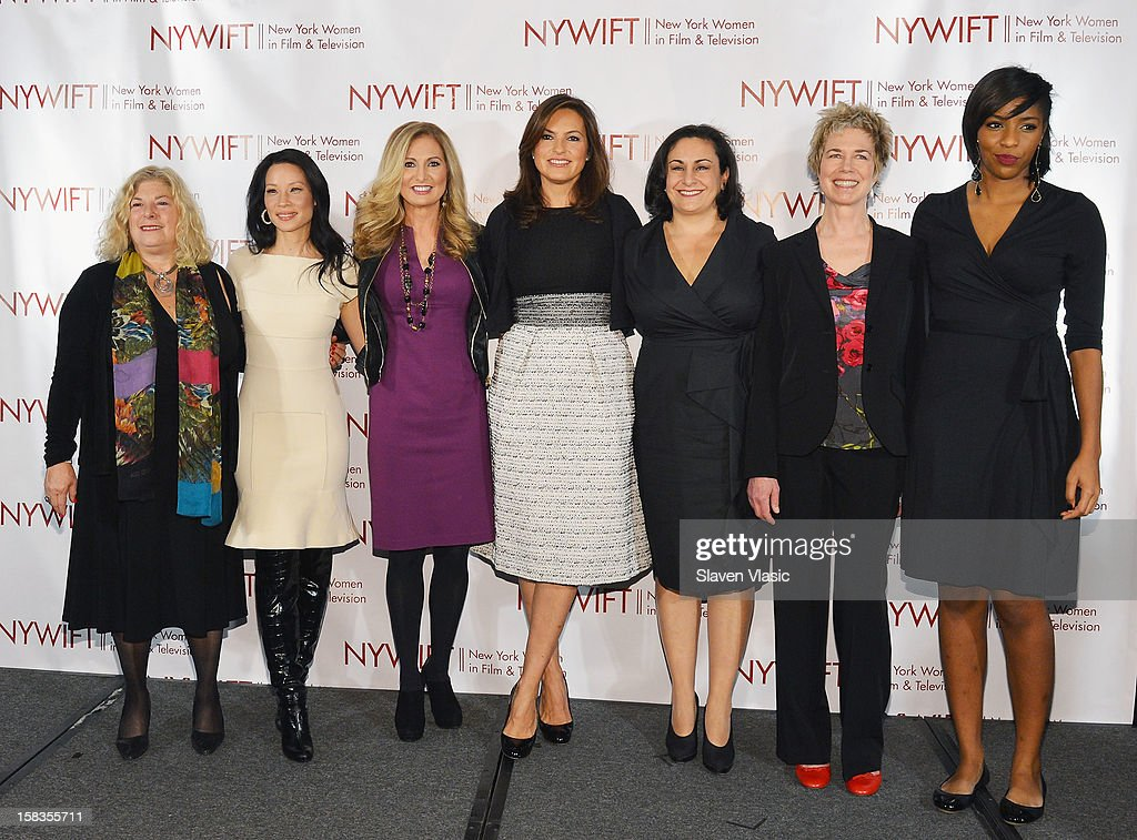 Event honorees Debra Zimmerman Lucy Liu, Kim Martin and Mariska Hargitay, and producer Alexis Alexanian, event honoree Lisa F. Jackson and event hostess Jessica Williams attend 2012 New York Women In Film And Television Muse Awards at New York Hilton – Grand Ballroom on December 13, 2012 in New York City.