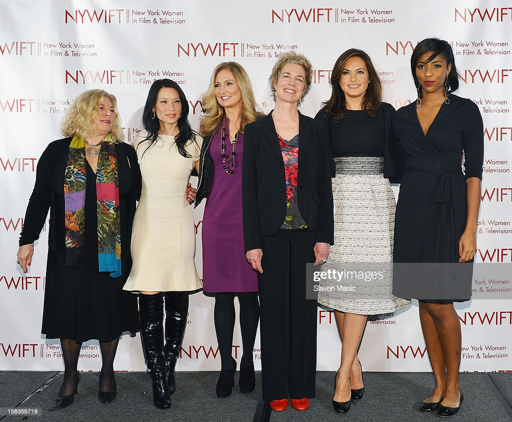 Event honorees Debra Zimmerman, Lucy Liu, Kim Martin, Lisa F. Jackson, Mariska Hargitay and event hostess Jessica Williams attend 2012 New York Women In Film And Television Muse Awards at New York Hilton – Grand Ballroom on December 13, 2012 in New York City.