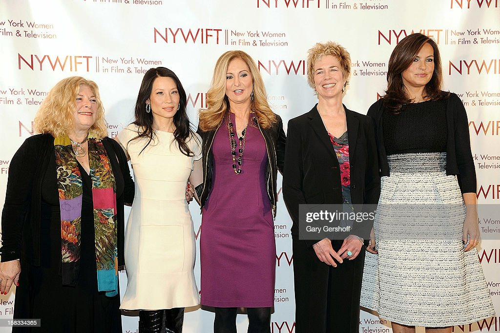 Event honorees Debra Zimmerman <a gi-track='captionPersonalityLinkClicked' href=/galleries/search?phrase=Lucy+Liu&family=editorial&specificpeople=201874 ng-click='$event.stopPropagation()'>Lucy Liu</a>, Lisa F. Jackson and <a gi-track='captionPersonalityLinkClicked' href=/galleries/search?phrase=Mariska+Hargitay&family=editorial&specificpeople=204727 ng-click='$event.stopPropagation()'>Mariska Hargitay</a> attend the 2012 New York Women In Film And Television Muse Awards at the Hilton New York on December 13, 2012 in New York City.