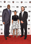 Event honorees Earvin 'Magic' Johnson Mo'Ne Davis and Madison Bumgarner attend the 2014 Sports Illustrated Sportsman of the Year award presentation...