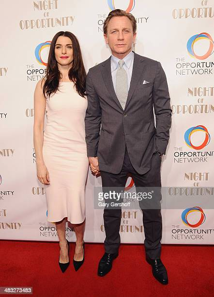 Event honorees Rachel Weisz and Daniel Craig attend the 7th annual Night of Opportunity Gala at Cipriani Wall Street on April 7 2014 in New York City
