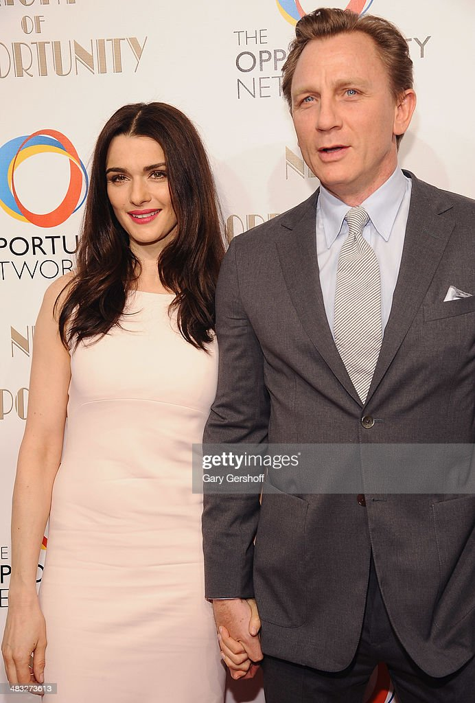 Event honorees <a gi-track='captionPersonalityLinkClicked' href=/galleries/search?phrase=Rachel+Weisz&family=editorial&specificpeople=204656 ng-click='$event.stopPropagation()'>Rachel Weisz</a> and Daniel Craig attend the 7th annual Night of Opportunity Gala at Cipriani Wall Street on April 7, 2014 in New York City.