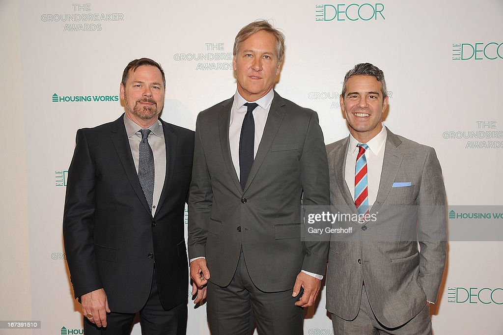 Event honorees Russell Hicks, James Huniford and <a gi-track='captionPersonalityLinkClicked' href=/galleries/search?phrase=Andy+Cohen+-+Television+Personality&family=editorial&specificpeople=7879180 ng-click='$event.stopPropagation()'>Andy Cohen</a> attend Housing Works Groundbreaker Awards at Metropolitan Pavilion on April 24, 2013 in New York City.