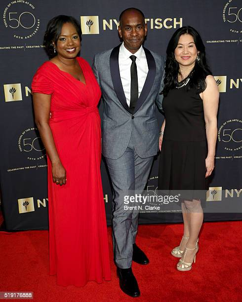 Event honorees Writer/producer Wendy Calhoun costume designer Paul Tazewell and Microsoft engineer Lili Cheng attend the NYU Tisch School of the Arts...