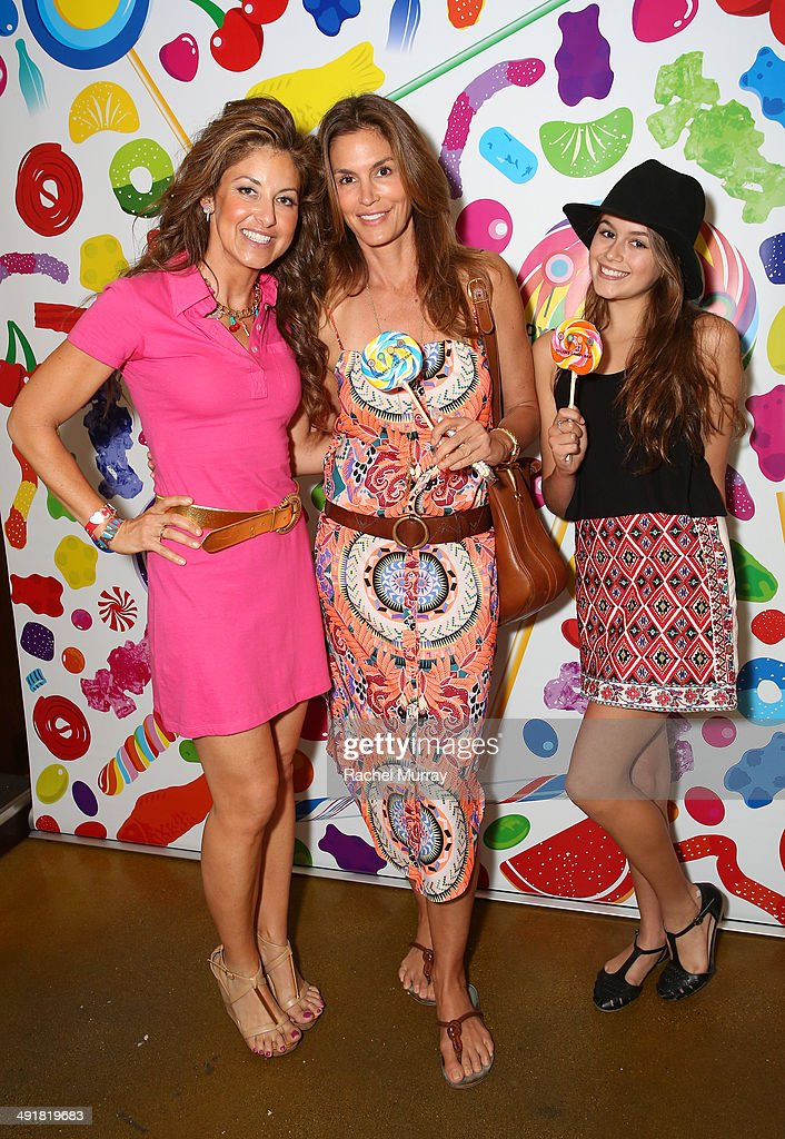 Event host Dylan Lauren, Cindy Crawford and daughter Kaia attend Dylan's Candy Bar Candy Girl Collection LA Launch Event at Dylan's Candy Bar on May 17, 2014 in Los Angeles, California.