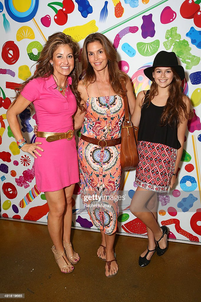 Event host <a gi-track='captionPersonalityLinkClicked' href=/galleries/search?phrase=Dylan+Lauren&family=editorial&specificpeople=243055 ng-click='$event.stopPropagation()'>Dylan Lauren</a>, <a gi-track='captionPersonalityLinkClicked' href=/galleries/search?phrase=Cindy+Crawford&family=editorial&specificpeople=202842 ng-click='$event.stopPropagation()'>Cindy Crawford</a> and daughter Kaia attend Dylan's Candy Bar Candy Girl Collection LA Launch Event at Dylan's Candy Bar on May 17, 2014 in Los Angeles, California.